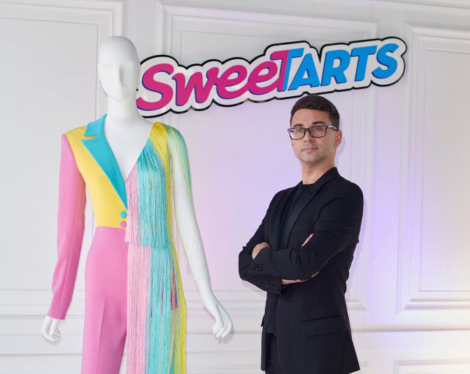 ashion Designer Christian Siriano unveiled his SweeTARTS-inspired ensemble