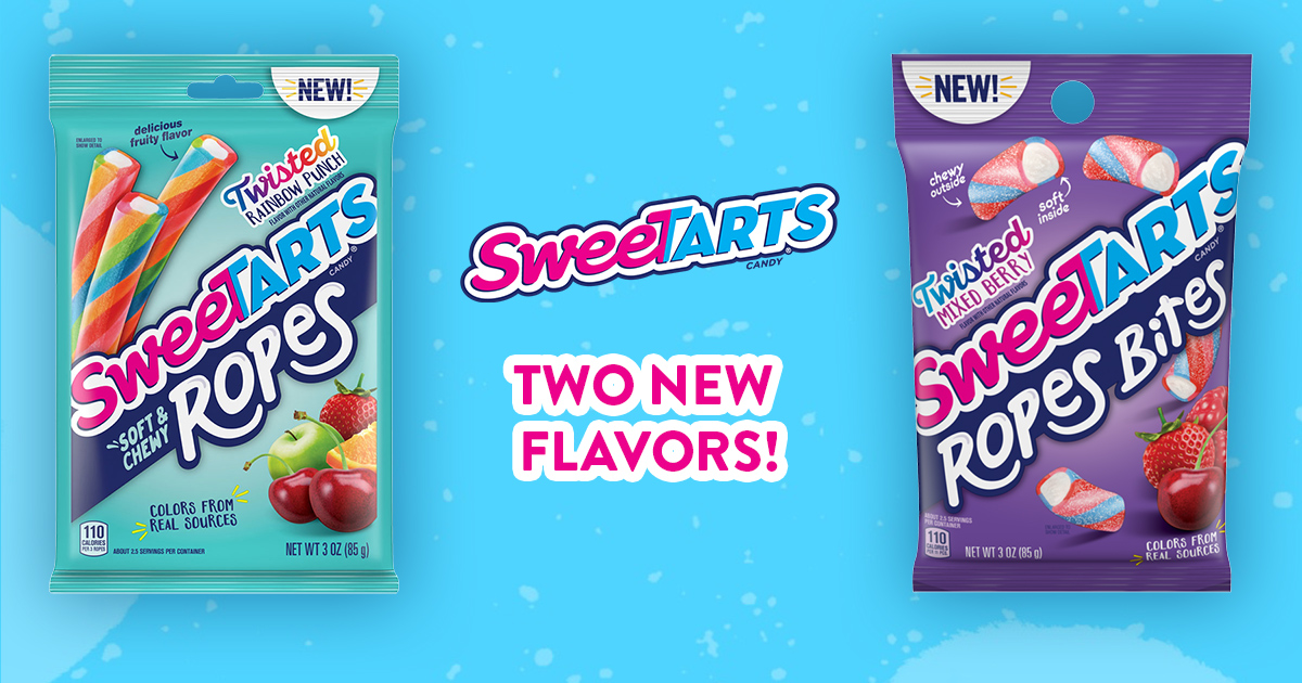 SweeTARTS is expanding its Soft & Chewy Ropes candy line with Twisted Rainbow Punch Ropes and Twisted Mixed Berry Ropes Bites