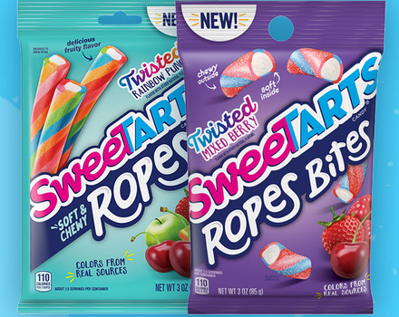 SweeTARTS is expanding its Soft & Chewy Ropes candy line with Twisted Rainbow Punch Ropes and Twisted Mixed Berry Ropes Bites.